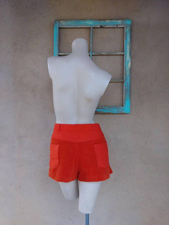 Vintage 1970s Mens Shorts 70s Head Tennis Wear Orange Hot