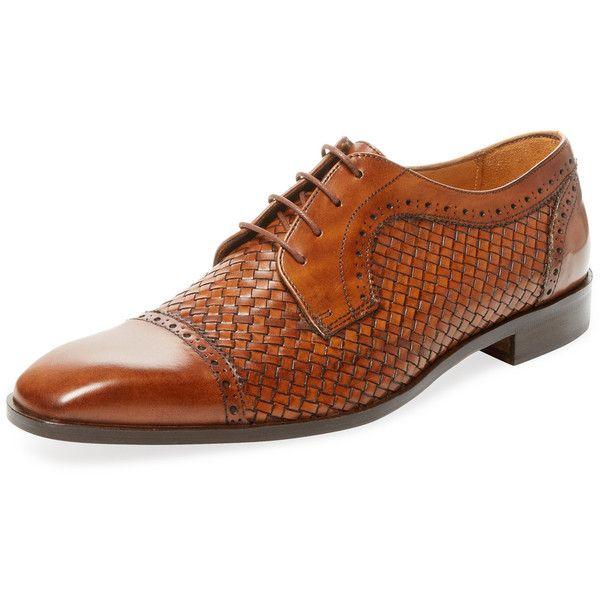 Saks Fifth Avenue Men's Cap-Toe Leather Derby Shoe - Cognac, Size 10 ($149) ❤ liked on Polyvore featuring men's fashion, men's shoes, men's dress shoes, cognac, mens shoes, cognac men's shoes, mens cap toe shoes, mens leather brogues and mens derby shoes