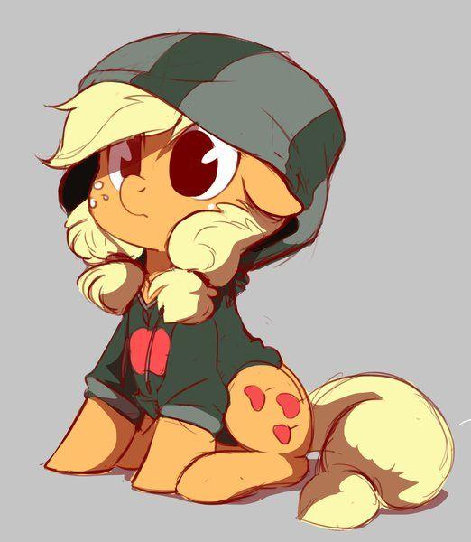 #1302797 - applejack, artist:imalou, clothes, cute, hoodie, jackabetes, safe, sitting, solo, teenage applejack - Derpibooru - My Little Pony: Friendship is Magic Imageboard