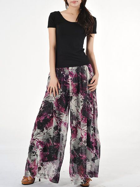 Shop Wide Leg Pants - Purple Casual Floral-print Wide Leg Pant online. Discover unique designers fashion at StyleWe.com.