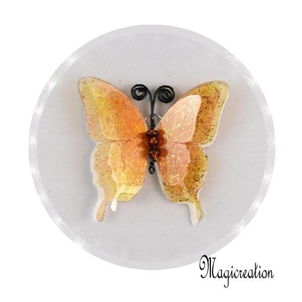 BRELOQUE PAPILLON 3D JAUNE - Boutique www.magicreation.fr