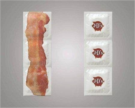 Bacon Condoms - flavored condoms. J's Bacon Condoms™ are Made in America of the highest quality latex.  Every Bacon Condom has been rigorously tested to ensure reliability & safety for when you're makin' Bacon. J's baconlube™ ultra premium water based meat flavored personal lubricant has been generously applied for a hot pork experience.       FACT – Each year 5 billion condoms are sold worldwide, 450 million in the US alone and exactly zero look, feel or taste like Bacon – until now.