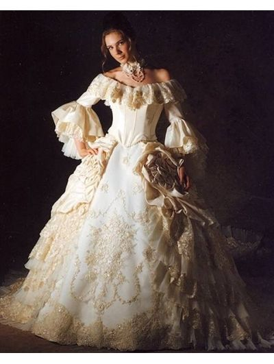 Victorian era ball gowns the shoulder 3 4 trumpet for Victorian inspired wedding dress