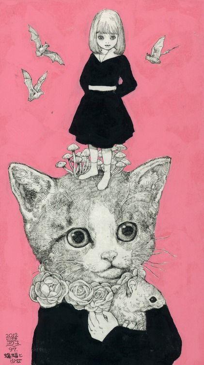 蝙蝠と少女   https://www.facebook.com/burnetmoth  ヒグチユウコ Yuko higuchi