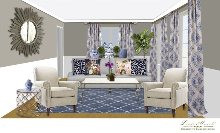 A colorful blue and white living room for a virtual design client. Design and rendering by Linda Merrill. #virtual #design #edecor #edesign #living #room #blue #white #gray #traditional