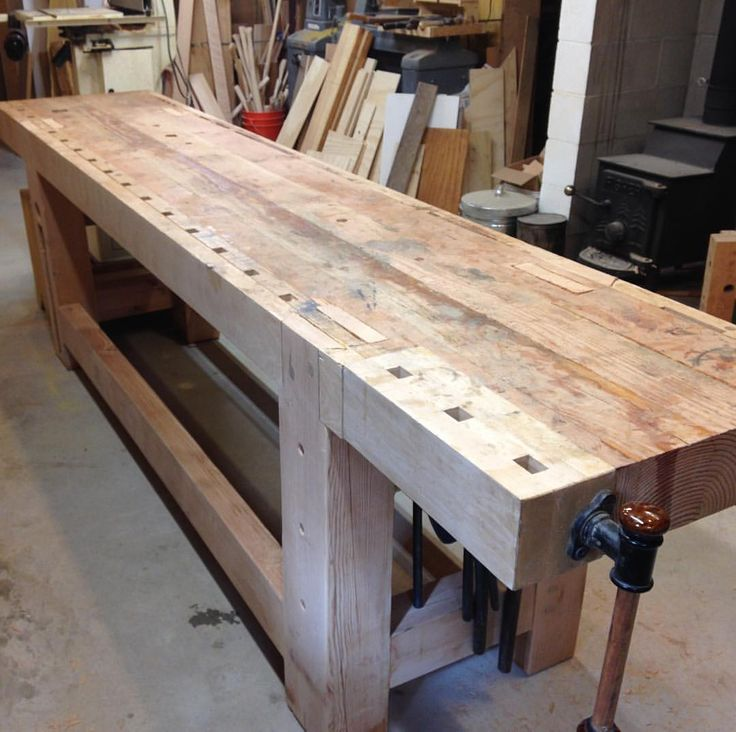 "203 Likes, 7 Comments - John Switzer (@blackbearforge) on Instagram: ""The big Roubo bench is on it's feet, finally. There is still work to do. The top needs to be…"""
