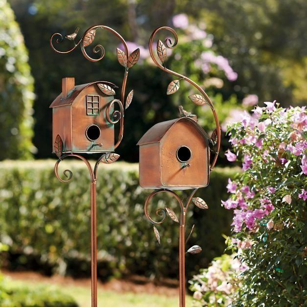 Birdhouse Garden Stakes In 2020 Diy Garden Furniture Garden Stakes Bird Houses