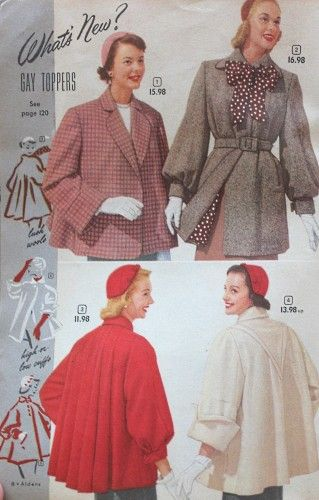 History of 1950s Coats and Jackets: 1952 Half Coats or Box Coats swing back tie belt red grey white pink wool winter short