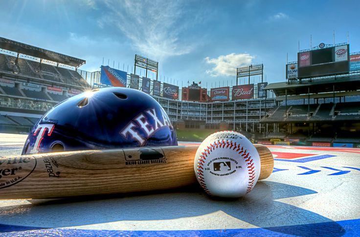 Image detail for -Nice photo of the Texas Rangers helmet, bat, ball and stadium.