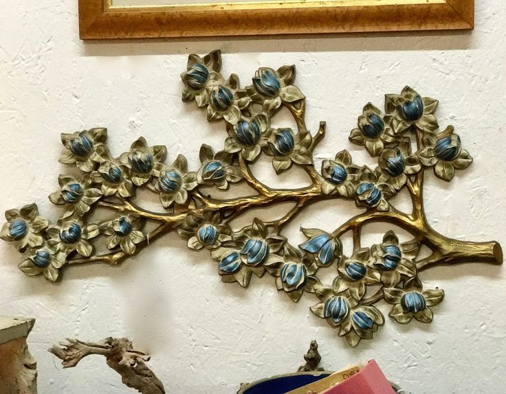 """Syroco Blossom Wall Art On Sale  Circa 1963  30"""" Wide x 17"""" High   Was $48 Sale Price $24  Vintage Affection Dealer #1680  White Elephant Antiques 1026 N. Riverfront Blvd. Dallas, TX 75207"""