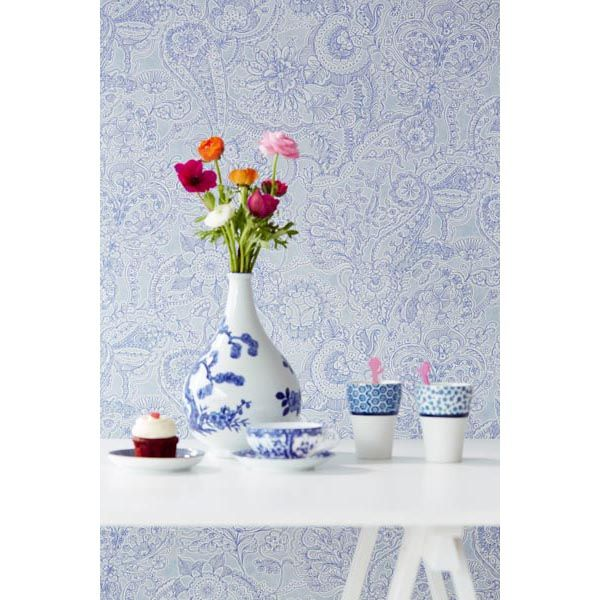 Give décor a whimsical touch with this ocean infused wallpaper with a pretty paisley design - 341525 Ocean Paisley - Barcelona - Raval Wallpaper by Eijffinger
