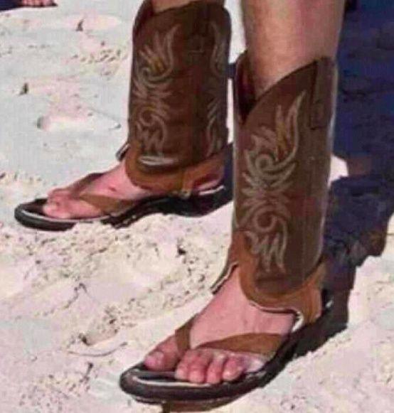 Crazy Redneck Texan Flip Flops - funny