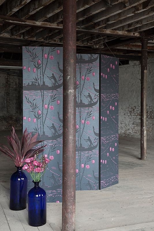 Gondola Wallpaper An oriental design wallpaper evocative of a romantic Japanese journey on the water, in black and amber, on a petrol blue irridescent background .