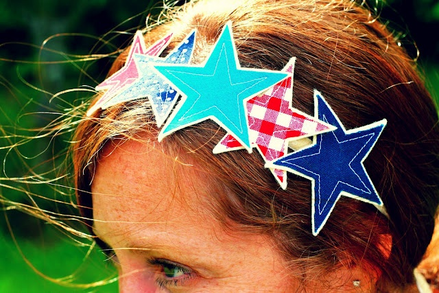 Star band: 4Th Ideas, Crafts Ideas, Fourth Of July, Lady Liberty, Dots Fabrics, Liberty Fascinators, 4Th Of July, Hair Accessories, Hair Stuff
