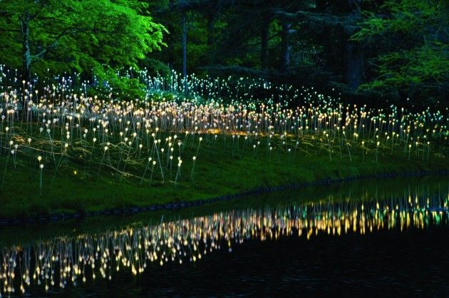 """British light artist Bruce Munro's """"Light,"""" a collection of 10 large-scale outdoor lighting installations coupled with indoor sculptures at the Cheekwood Botanical Garden in Nashville, Tennessee."""