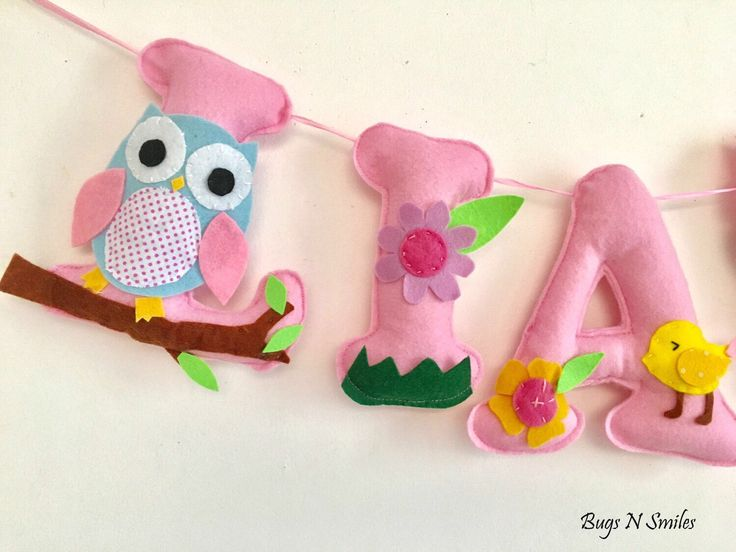 owl name banner for nursery hanging wall letters for nursery hanging name banner for nursery nursery banner decoration felt name banner
