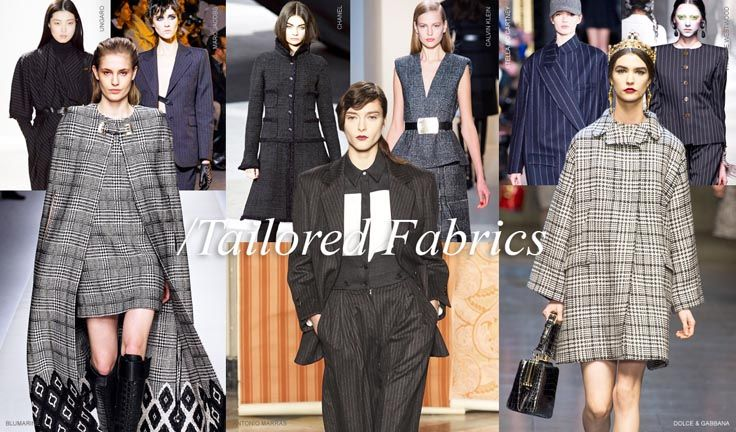 Taylored Fabrics - Maybe because of the masculine tailoring, or because of the Forties feel, tailoring fabrics like pin stripes and Prince of Wales check are fashioned into suits, dresses, capes and even culottes.