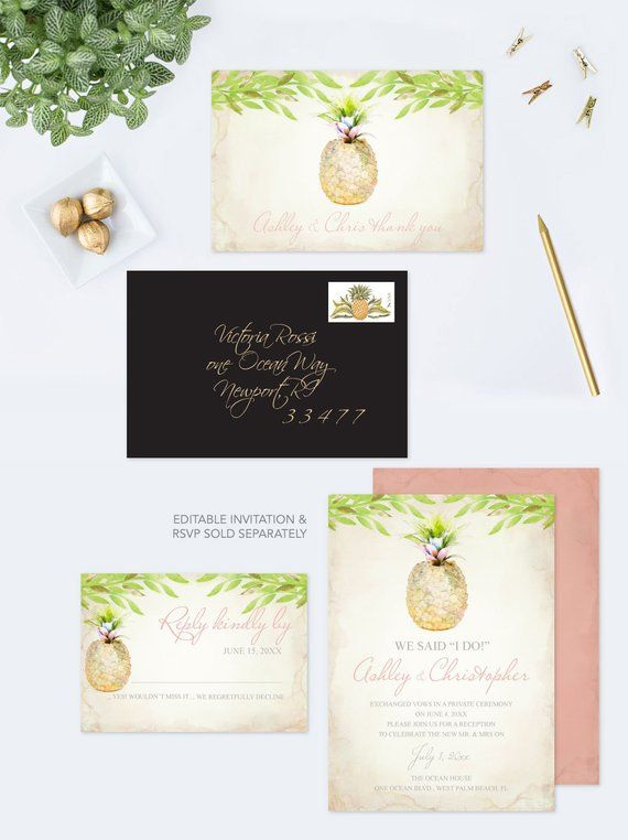 Printable Thank You Card For Wedding Customize Watercolor Pineapple