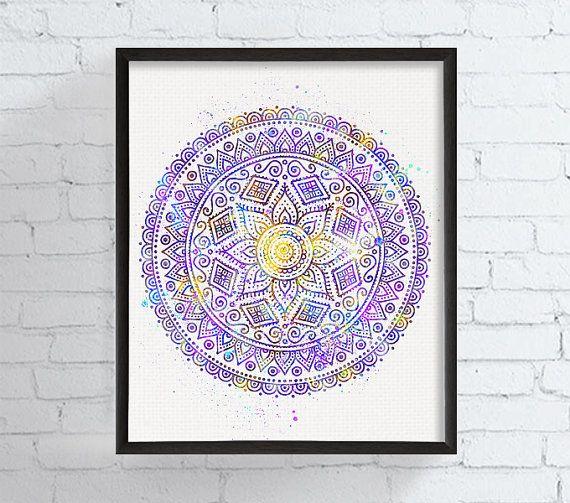 Mandala Wall Art Mandala Watercolor Mandala by MiaoMiaoDesign