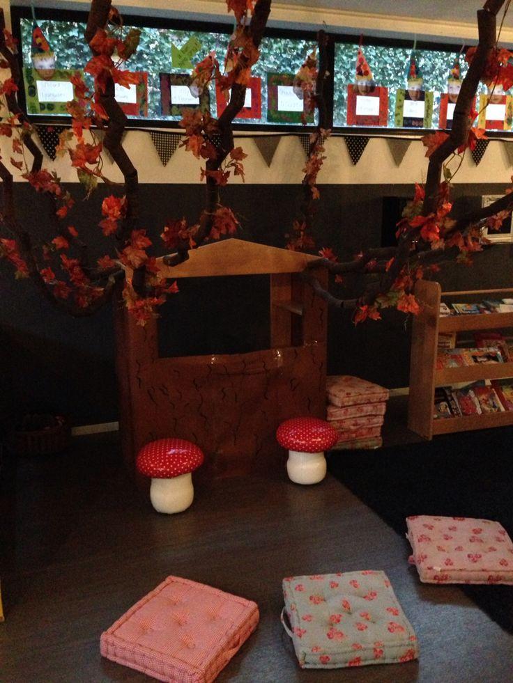 Sprookjesboom boom sprookjes poppenkast herfst themahoek onderwijs peuters kleuters peuterspeelzaal kinderdagverblijf