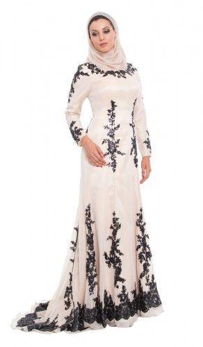 Amira Sequined Silk Blush Beige Islamic Formal Long Dress | kaftans, maxi dresses and long sleeve dresses for women | Islamic Dresses at Artizara.com