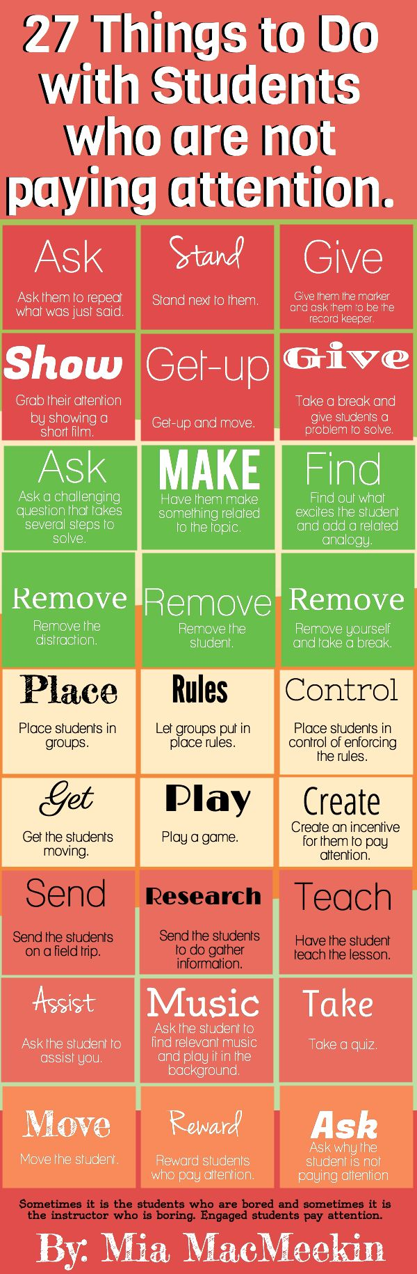 It often happens in classrooms and academies that students get bored and even sometimes teacher felt that he is boring. To keep better class-environment  here we have a handy infographic which will illustrate 27 best things to do with boring students, who are not paying attention.  http://www.digitalinformationworld.com/2013/04/27-ways-to-grab-attention-of-boring.html #education #teachingtips