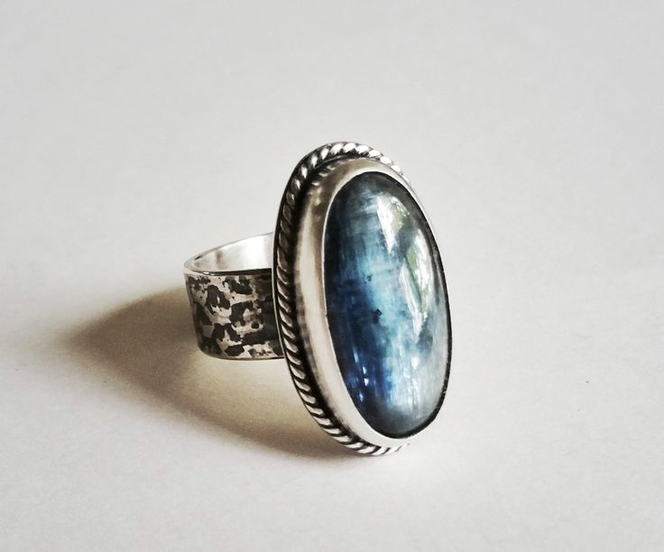 Sterling Silver and Kyanite Honeycomb Ring