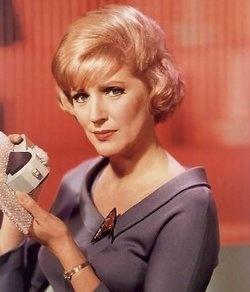 Nurse Christine Chapel; played by Majel Barrett (donning a blonde ...