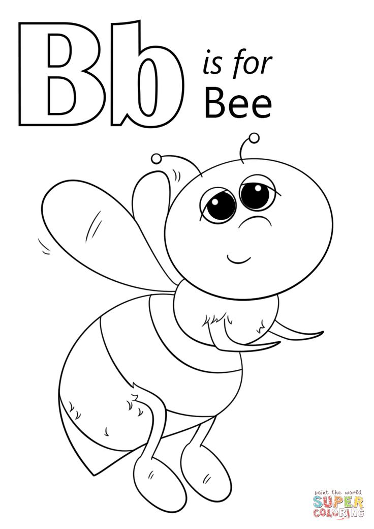 Letter B is for Bee coloring page Free Printable