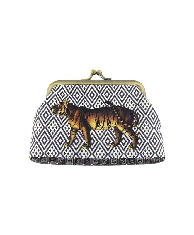 Made with SGS tested toxic-free faux/vegan leather, this vintage style kiss lock frame faux/vegan leather coin purse features lovely Tiger on ikat style print by Mlavi Studio. Wholesale available at http://mlavi.com/mlavi-animal-themed-vegan-bag-wallet-and-accessories-wholesale.html #animal #vegan #wholesale #fashion #accessories #gift