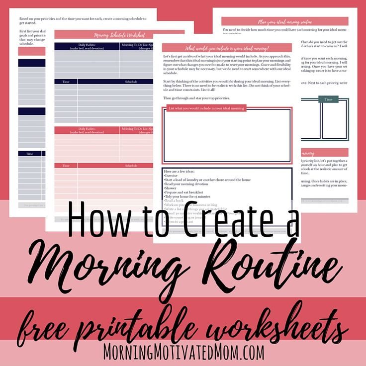 Download free Morning Routine printable worksheets!