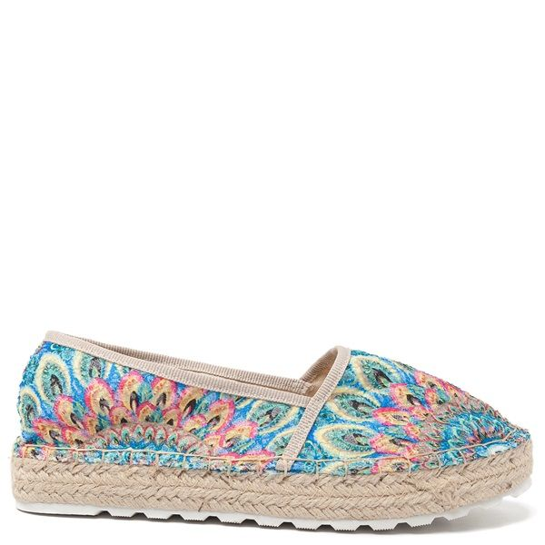 Espadrilles with multi-colored woven pattern, beige piping and double rope sole.