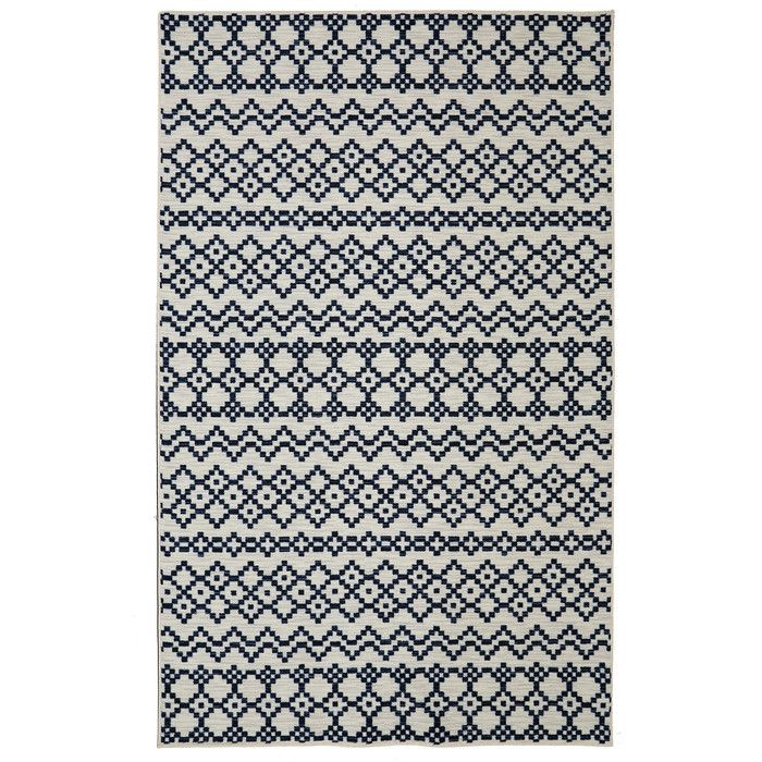 Mohawk Home Loop Print Base Aztec Bands Denim Rug