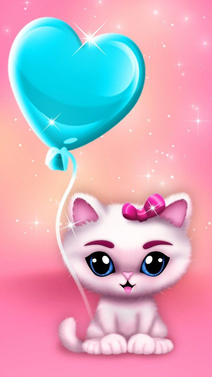 Cute Kitty Lovely Eyes And Heart Balloon Pet Love Wallpaper For You Cartoon Wallpaper Cute Wallpapers Cute Pictures