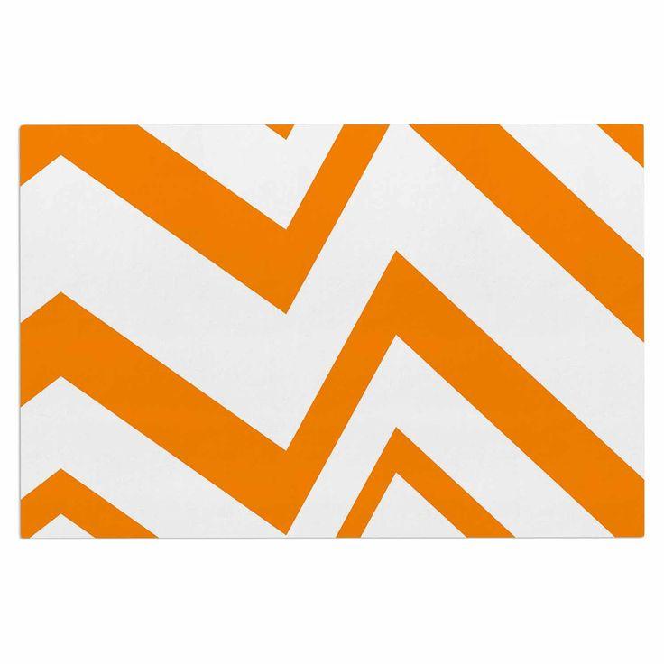 """NL Designs """"ZigZag Orange"""" Tangerine White Decorative Door Mat"""