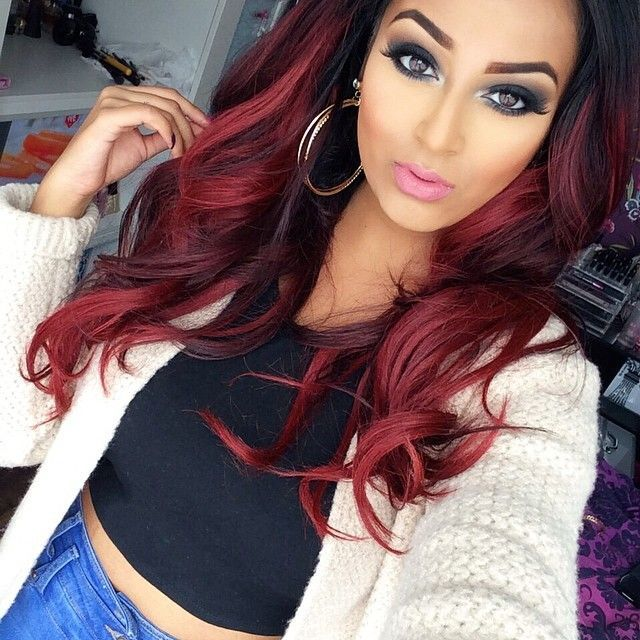 Red Ombre Sombre Dark fades into Red   Hair Color   Hair ...
