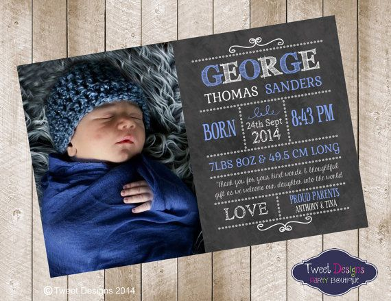 BIRTH ANNOUNCEMENT, Printable Baby Boy Thankyou Card, Chalkboard Baby Thankyou Card, Blackboard George Typeography Birth Announcement Card