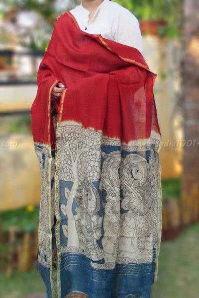 Gorgeous Hand Painted Kalamkari Chanderi Dupatta