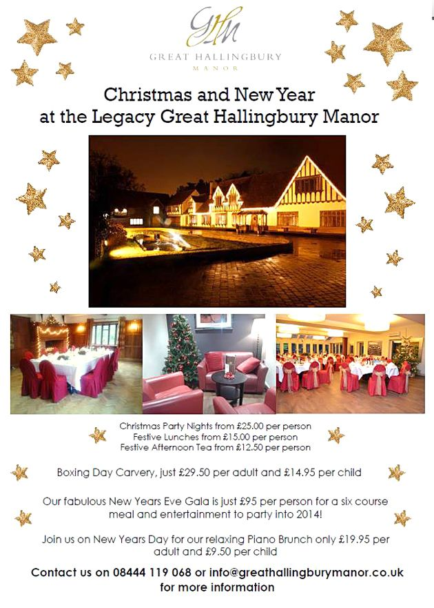 By Legacy Great Hallingbury Manor @GHMhotel @Legacy_hotels @LakesideatGHM We have a few spaces left for our Boxing Day Carvery and our New Years Eve Gala, celebrate in style with us this Christmas! http://www.legacy-hotels.co.uk/legacy-greathallingbury/