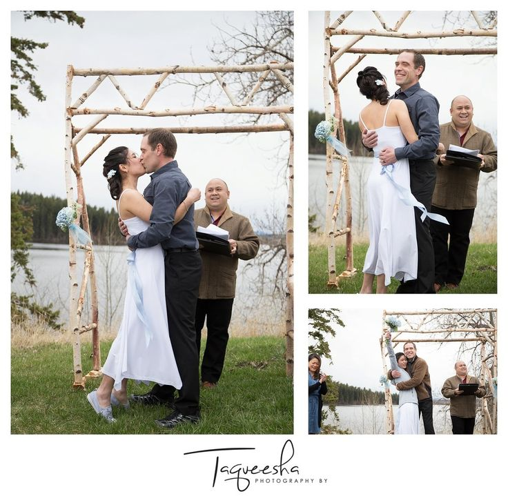 Kamloops wedding photographer, Photography by Taqueesha.  www.taqueesha.com  Salmon Lake Resort wedding, first kiss, outdoor ceremony.