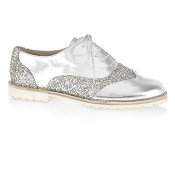 SILVER LEATHER AND GLITTER WITH A WHITE SOLE £195.00