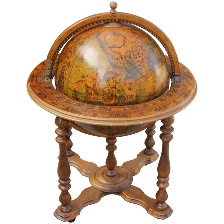 A French Mid Century Modern World Globe bar. Top opens to reveal bar. Ref- LU87084650963.
