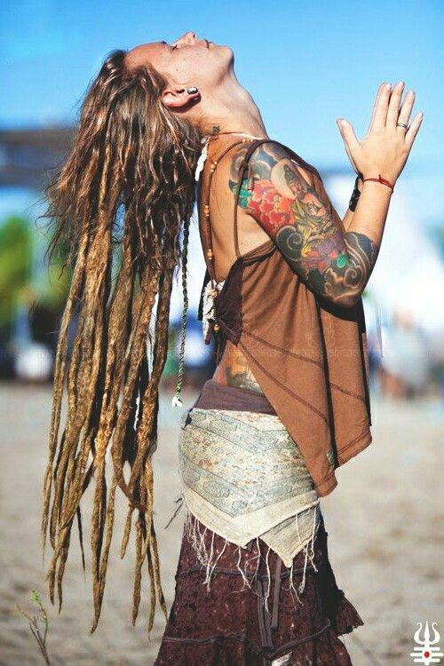 Nude hippie girl with dreads