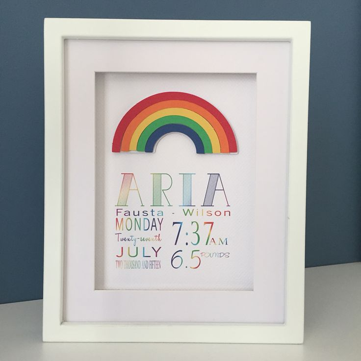 For a special Rainbow baby - birth notice frame
