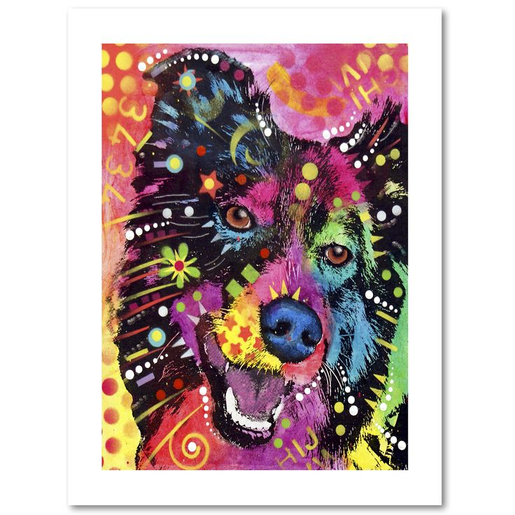 This print on high quality archival paper features a colorful painting of a dog. Art and animals. These two passions define Dean, a Brooklyn, New York-based artist who uses vibrant Pop Art colors and