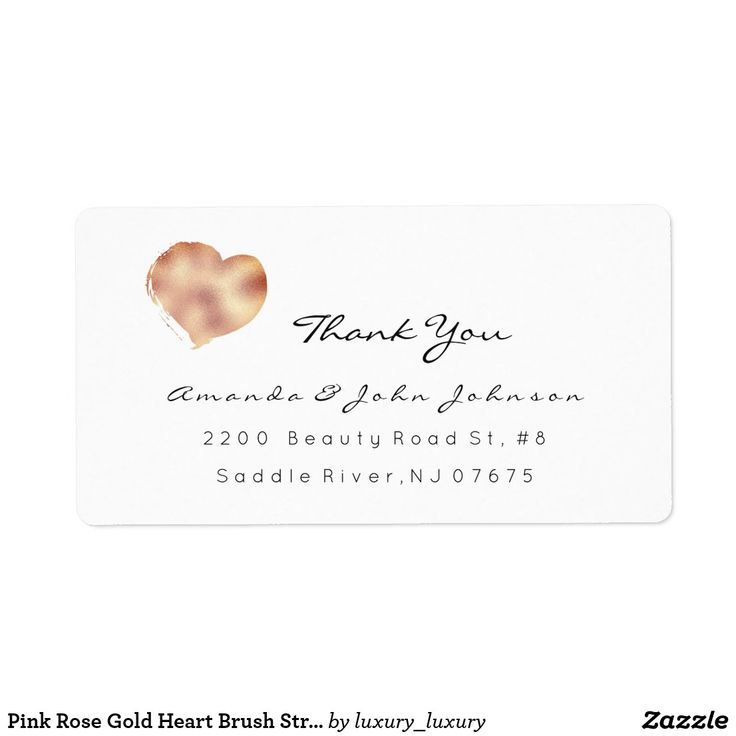 Pink Rose Gold Heart Brush Stroke Thank You Label Zazzle Com Rose Gold Heart Pink Rose Thank You Labels