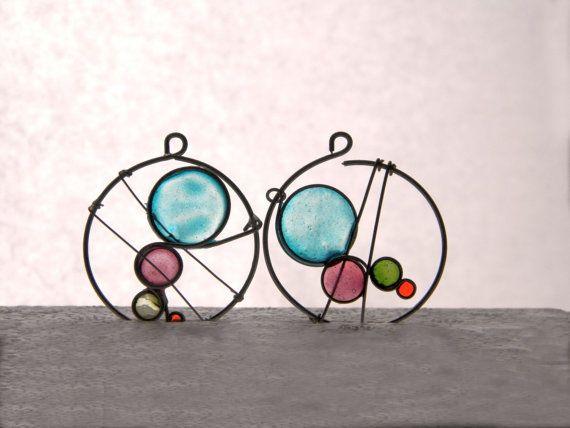 Kandinsky resin dangles wire resin earrings by TheHappyLollipop