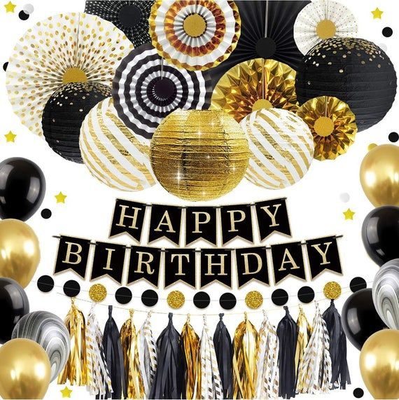 Black And Gold Party Decoration Diy Mens Party Set Etsy Black And Gold Party Decorations Gold Party Decorations Gold Party Decorations Diy