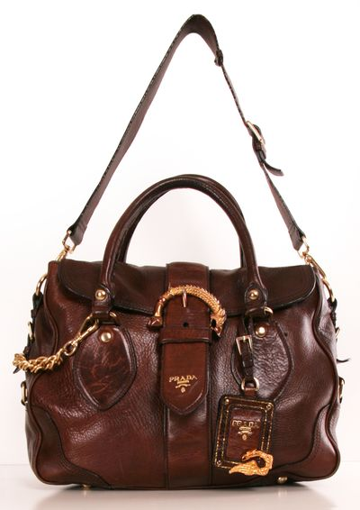 Brown leather Prada satchel