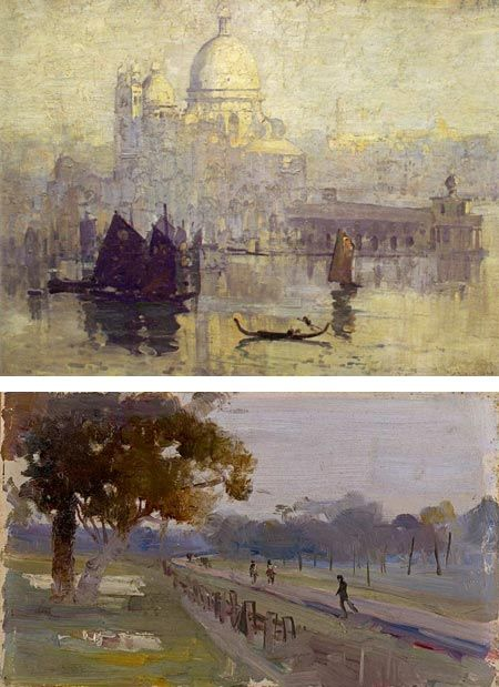"Arthur Streeton . ""9 by 5 Impression Exhibition"" and consisted largely of plein air paintings on cigar box lids of that size"